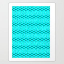 Blue love hexagonal pattern Art Print