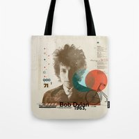 dylan Tote Bags featuring Bob Dylan by Azlif