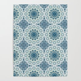 Creamy and blue mandala pattern#4 Poster