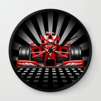 formula 1 Wall Clocks featuring Formula 1 Red Race Car by BluedarkArt
