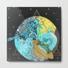 Bigfoot and the Lochness Monster in Space Metal Print