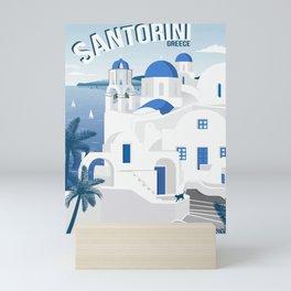 Vintage Santorini poster Mini Art Print