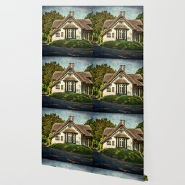 A  Thatched Cottage At Sulham Wallpaper