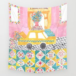 Big Yellow Taxi Wall Tapestry