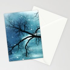 Surreal Aqua Blue Tree Branches Haunting Nature Raven Decor Stationery Cards