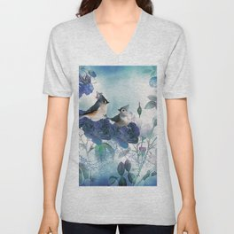 Cute birds with flowers Unisex V-Neck