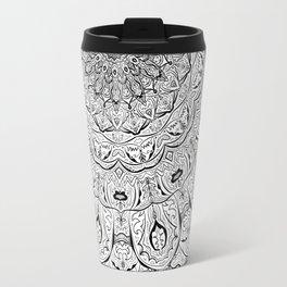 Lacy Flames Mandala in Black and White Travel Mug