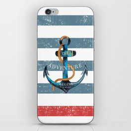 Maritime Design - Nautic Anchor on stripes in blue and red iPhone Skin