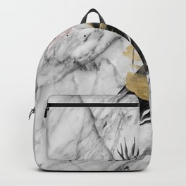 Abstract botanical blush marble Backpack