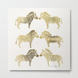 Golden Zebras Metal Print