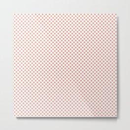 Coral Pink Polka Dots Metal Print