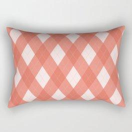Pantone Living Coral Argyle Plaid, Diamond Pattern Rectangular Pillow
