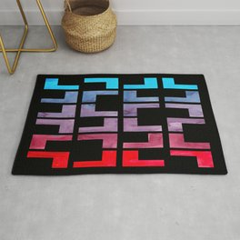 Cerulean Blue Purple Red Watercolor Gouache Geometric Painting On Black Background Bright Contrast Rug