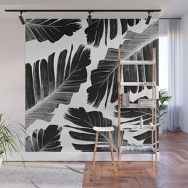 Tropical Black Banana Leaves Dream #1 #decor #art #society6 Wall Mural