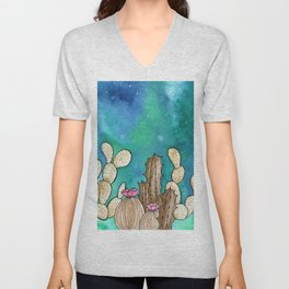Galaxy Cacti watercolor painting Unisex V-Neck
