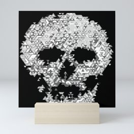 Geometric Light Grey Skull Composed Of Triangles Mini Art Print