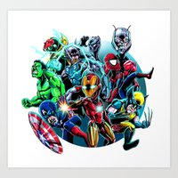 super heroes Art Prints featuring Super Heroes by Carrillo Art Studio
