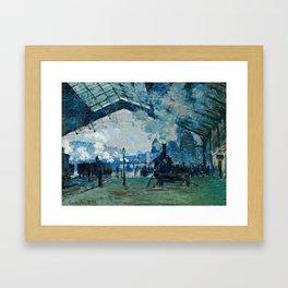 Claude Monet - Arrival Of The Normandy Train, Gare Saint Lazare Framed Art Print