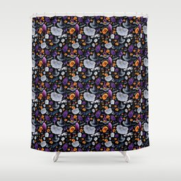 Halloween-Black Background Shower Curtain