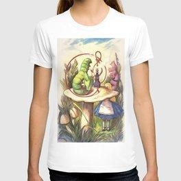 Alice & The Hookah Smoking Caterpillar - Alice In Wonderland T-shirt
