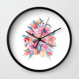 Pink Flower bunch Wall Clock