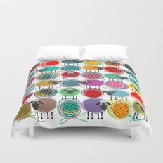 Bright Sheep and Yarn Pattern Duvet Cover