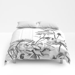 black and white peonies Comforters