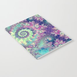 Violet Teal Sea Shells, Abstract Underwater Forest  Notebook