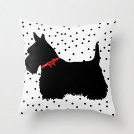 Christmas Scottie Dog Throw Pillow