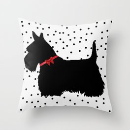 Christmas Scottie Dog Throw Pillow