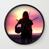 volleyball Wall Clocks featuring Volleyball Player by americansummers