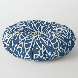 Modern navy blue ivory hand painted floral mandala Floor Pillow