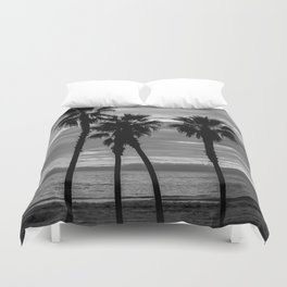 Sunset Though The Palms 1-13-19 (B&W) Duvet Cover