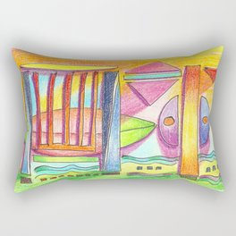 beach abstract Rectangular Pillow