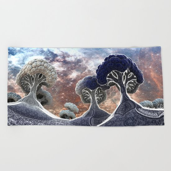 Broccoli Planet in Winter Beach Towel