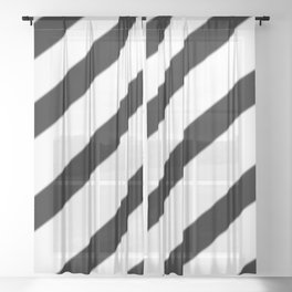 Soft Diagonal Black and White Stripes Sheer Curtain
