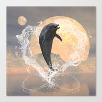 dolphin Canvas Prints featuring Dolphin by nicky2342