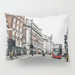 Red bus in Piccadilly street in London Pillow Sham