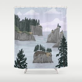 Olympic National Park Poster, Washington, illustrated National Parks USA Shower Curtain