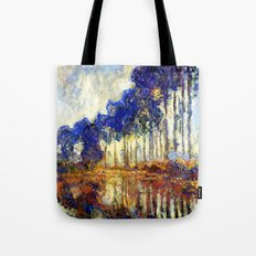 Monet : Poplars on the Banks of the River Epte, 1891 Tote Bag