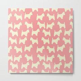 West Highland Terrier in pink Metal Print