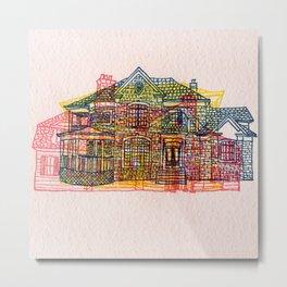 Letterpress Houses 4 Metal Print