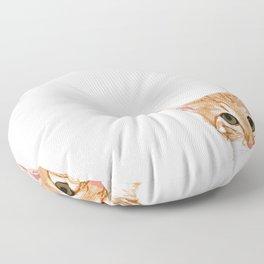 Peeking Orange Tabby Cat - cute funny cat meme for cat ladies cat people Floor Pillow