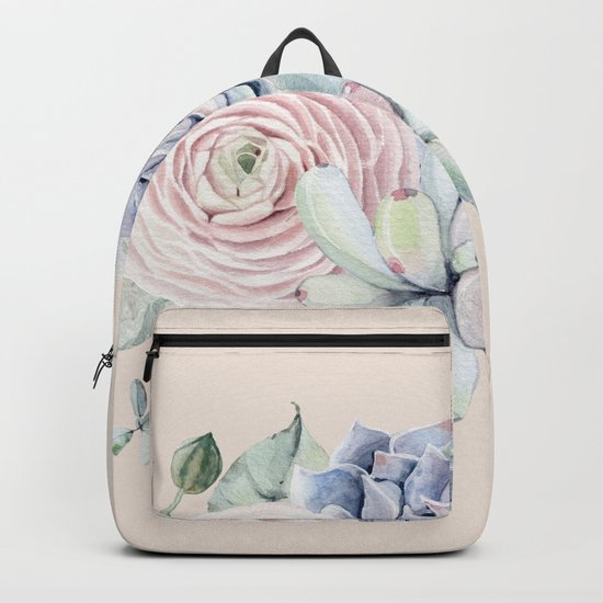 Pretty Pink Succulents Garden Backpack