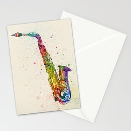 Saxophone Abstract Watercolor Stationery Cards