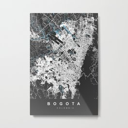 Bogota City Map - Colombia | Black | More Colors, Review My Collections Metal Print