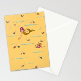 Fashionable mermaid - yellow-orange Stationery Cards