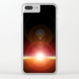 Solar flare, imagined sunrise on planet Mars Clear iPhone Case