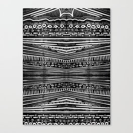 Linocut Tribal Pattern Canvas Print