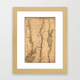 Map Of The Hudson River 1777 Framed Art Print